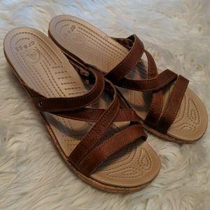 Crocs cork wedge platform brown strappy sandals